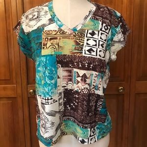 Chico's   T-shirt   Brown Blue Green   Size 2